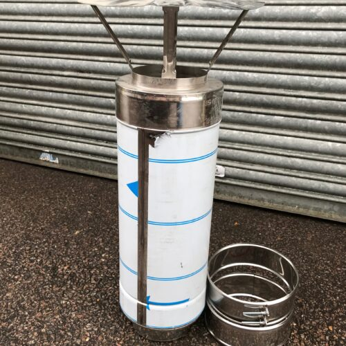 Twin wall insulated oven flue / chimney with rain cap KIT