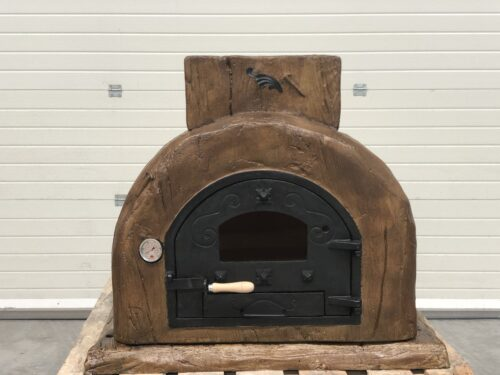 Traditional CLAY wood fired oven - ROSA - Wood Effect front