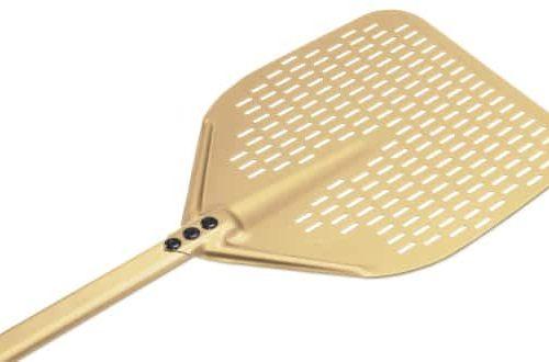 Gi Metal GOLD LINE-  Alluminium, Rectangular, Perforated Pizza Peel 33cm / 186cm